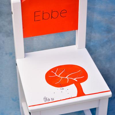 kinderstoeltje oranje Ebbe geboortekaartje