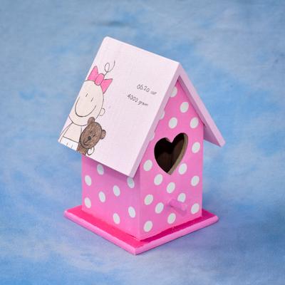 vogelhuisje hart gat geboortekaartje cadeau kraamcadeau
